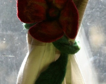 Needle felted flower - can be used as a curtain tie back, wrist or neck ornament