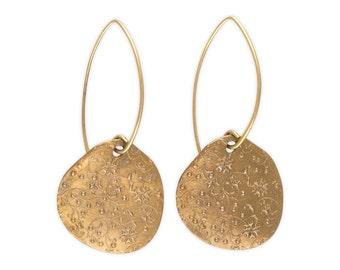 Flower Earrings - Long Earrings - Round Earrings - Large Golden Floral Earrings - Summer Meadow Earrings (EB-FE-ML)