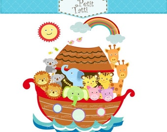 ON SALE Noah ark digital clipart, Noah ark scene clipart - Noah's ark (4) brown,animals clipart, instant download