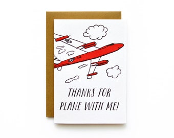 Plane With Me - letterpress card