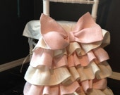 Pink Burlap Chair Cover