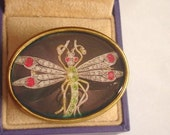 Dragonfly  Vintage Jewelry Animal Brooch Gold Tone