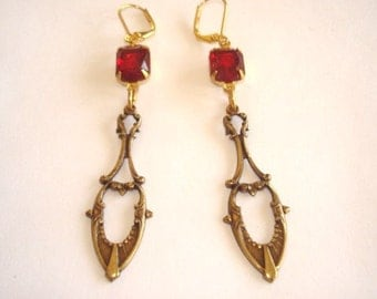 Ruby Glass Stone Earrings Gold Tone