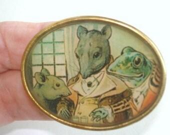 Mouse and Frog Animal Brooch KL Design