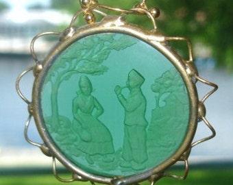 Etched Music for Lover Green Crystal Vintage Pendant Gold Tone Frame