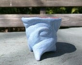 Blue Terracotta Shot Glass or Tiny Thing Holder: Hand Carved, Brick Red Inside, Tripod Feet, Unique (w9)