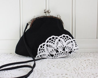 clutch with vintage lace, black and white