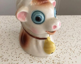 Sale Darling Vintage Anthropomorphic Ceramic Bull Creamer -- Kitschy Cute Retro