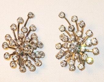 Vintage Tara Clear Rhinestone Shooting Star Clip Earrings  (E-1-3)