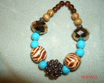 TigerBeads and Turquoise Bracelet