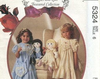 McCalls 5324 UNCUT - Girls Dress and Purse, and Matching Dolls dress- Size 6 - Ruffles and Lace