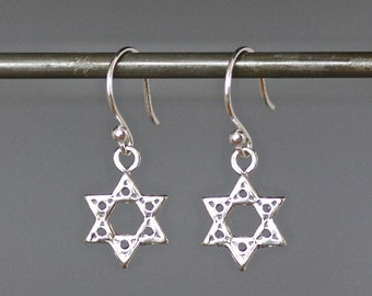 Star of David Earrings - Silver Star Earrings - Bali Silver Earrings - Star Charm Earrings - Judaica Jewelry - Bat Mitzvah Gift - Gift