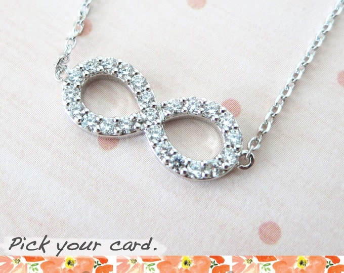 Infinity necklace - Cubic Zirconia infinity, Rhodium plated Infinity, forever love, best friend, friendship, bridesmaid, daughter, mother