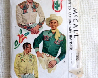 Cowboy Western shirt with Transfers Pattern.  Vintage 1940 sewing pattern.   McCall 1332.  Rockabilly.  Men's Size 15.5.   No. 1332.