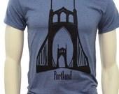 Tall sizes| St. Johns Bridge Portland| Men's regular T Shirt| Art by MATLEY| up to 3XT| Hometown tees| Destination| Portland bridge| Goth.