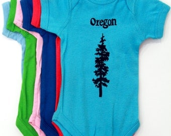 Oregon Douglas Fir| Infant Bodysuit| Baby Shower gift| jumpsuit| New born gift registry| Travel tees| hometown baby t shirt| Pine tree.