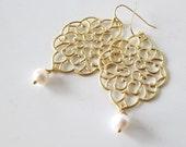 Pearl Filigree Earrings Boho Wedding Earrings Large Gold Earrings Feminine lightweight Natural pearls Bridal Jewelry Pearl Earrings Gold
