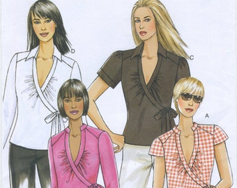 Wrap Top Sewing Pattern Size 8, 10, 12, 14 Butterick B5328, Uncut, V Neck, Collar Variations, Side Ties, Casual Summer Top Blouse