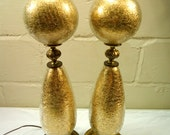 Pair of Gold Crackled Glass Hollywood Regency Table Lamps