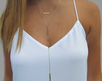 Cameron Diaz Bar Lariat Necklace, Double Bar Necklace, Long Bar Y Necklace- Sold Separately OR as a Set of 2 Necklaces