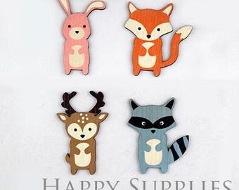 4Pcs Mini Handmade Cute Animal Laser Cut Charms / Pendants (CWM25)
