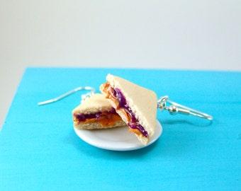 Sandwich Earrings Food Jewelry - MADE to ORDER PB and J Earrings, Grape Jelly - Food Earrings