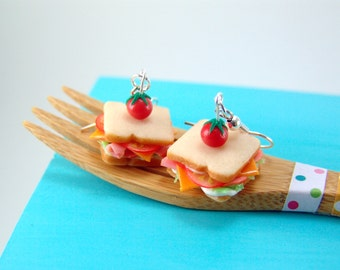 Sandwich Earrings Ham and Cheese Dangly or Clip On Earrings - Food Jewelry MADE TO ORDER