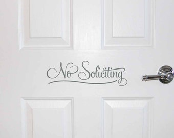 No Soliciting decal, No Soliciting door sign, No Soliciting vinyl lettering, Door decal, Door sticker, Front Door decor (PC1330)