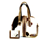 Western Handbag and Wallet // Large Black & White Hair On Cowhide Shoulder Bag With Bling Bling!