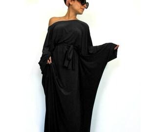 Long 'Tokyo Glam' Black gown- Long sleeve maxi dress, Kimono long formal gown