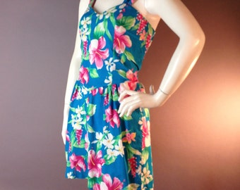 1980s 50s inspired vintage 80s BLUE PINK HAWAIIAN Pin up romper shorts jumpsuit play suit