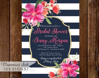 Bridal Shower Invitation, Navy Blue and White Stripes Shower Invitation, Gold Glitter Bridal Shower, Watercolor Floral, Tropical Invite