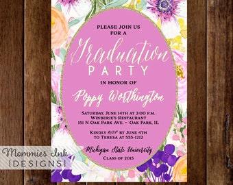 Floral Graduation Party Invitation, Watercolor Flowers Invitation, Floral Invitation, Pink and Purple, DIY, Class of 2015, Open House Invite