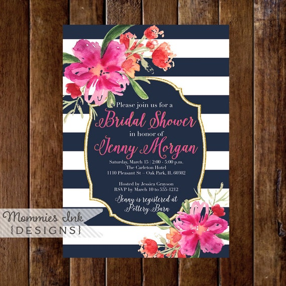 Bridal shower invitation navy blue and white stripes shower il570xn filmwisefo