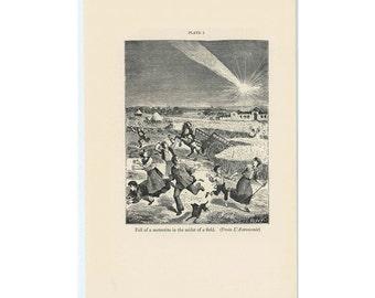 1934 falling METEORITE original vintage celestial astronomy science print