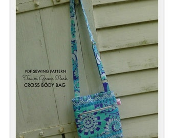 PDF PATTERN - Tower Grove Park - Cross Body Hipster - Concealed Zipper - Many Pockets - Adjustable Strap - Beaded Zipper Pull - Pleated Trim