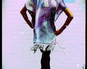 Purple Upcycled Silk Scarf Kimono Fringed Print Dress