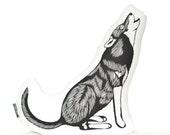 wolf plush, wolf pillow, animal pillow, wolf plushie, howling wolf, animal cushion, animal pillows