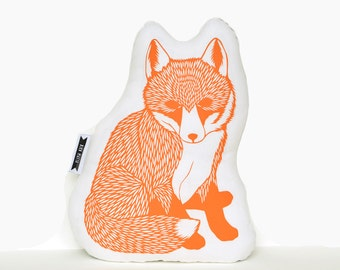 fox plush, baby fox plush, orange fox pillow, animal pillow, fox pillow, fox nursery decor, fox plushie, woodland animals, animal cushion