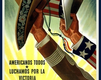 vintage world war 2 poster mexico and usa united for victory illustration digital download