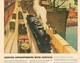 vintage art deco mid century locomotive train illustration digital download