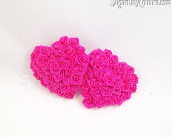 ON SALE RTW Fuschia Heart Shaped Ribbon Rose Nipple Pasties - Size M - SugarKitty Couture