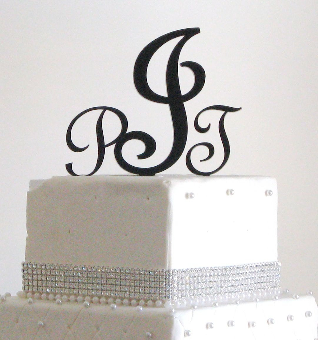 Wedding Cake Toppers Letters Black : Three Letter Monogram Cake Topper for Wedding by ...