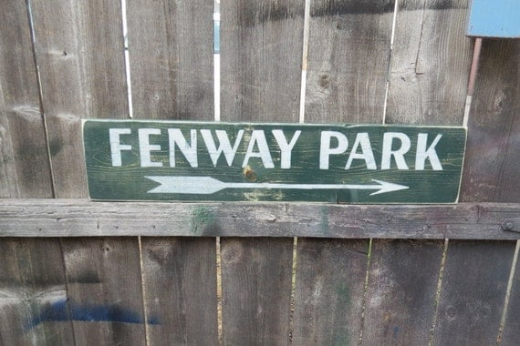 Hand Painted Man Cave Signs : Hand painted wood sign fenway park baseball directional