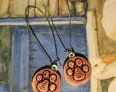 Small Ceramic PAW PRINT earrings glazed in WINE