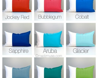 Custom Outdoor Pillow Cover, Modern Color Block, Decorative Red Yellow Orange Blue WhiteThrow Pillow, Black White Sunbrella Cushion Cover