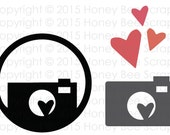 Digital SVG Print and Cut File - Camera and Hearts - Instant Digital Download!