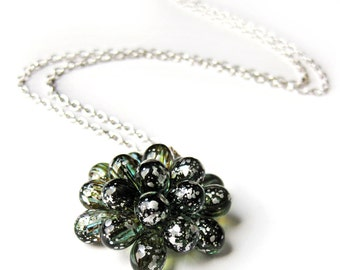 Berry necklace Silver & Green - Pendant necklace, Bubble Glass Necklace, Bride Necklace, Glass cluster Statement Necklace, Succulent jewelry