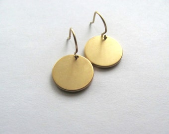 Gold disc earrings, 16k matte gold on 14k gold plate fixtures, round circles