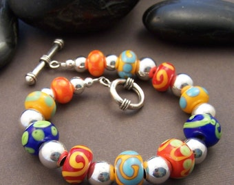 Whimsy Bracelet - Lampwork Glass Bead and Sterling Silver Beaded Bracelet